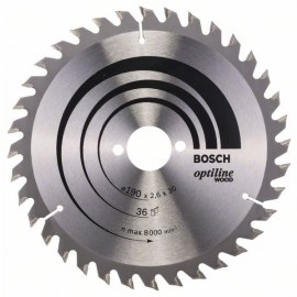 Sågklinga för trä Bosch OPTILINE WOOD; 190x2,6x30,0 mm; Z36; 15°
