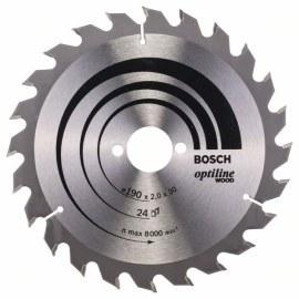 Sågklinga för trä Bosch OPTILINE WOOD; 190x2x30,0 mm; Z24; 15°