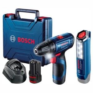 Skruvdragare/borr Bosch GSR 120-Li; 12 V; 2x2,0 Ah batt. + stavlampa GLI 12V-300