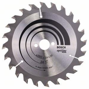 Sågklinga för trä Bosch OPTILINE WOOD; 160x2,6x20,0 mm; Z24; 15°