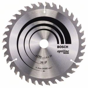 Sågklinga för trä Bosch OPTILINE WOOD; 190x2,6x20,0 mm; Z36; 15°
