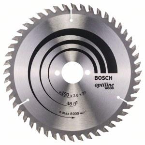 Sågklinga för trä Bosch OPTILINE WOOD; 190x2,6x30,0 mm; Z48; 15°