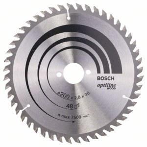 Sågklinga för trä Bosch OPTILINE WOOD; 200x2,8x30,0 mm; Z48; 15°
