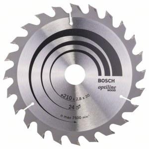 Sågklinga för trä Bosch OPTILINE WOOD; 210x2,8x30,0 mm; Z24; 15°