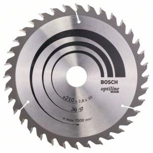 Sågklinga för trä Bosch OPTILINE WOOD; 210x2,8x30,0 mm; Z36; 15°