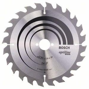 Sågklinga för trä Bosch OPTILINE WOOD; 230x2,8x30,0 mm; Z24; 15°