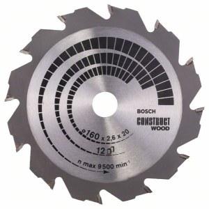 Sågklinga för trä Bosch CONSTRUCT WOOD; 160x2,6x20,0 mm; Z12; 12°