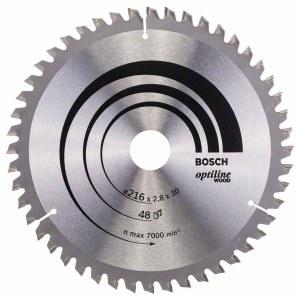 Sågklinga för trä Bosch OPTILINE WOOD; 216x2,8x30,0 mm; Z48; -5°
