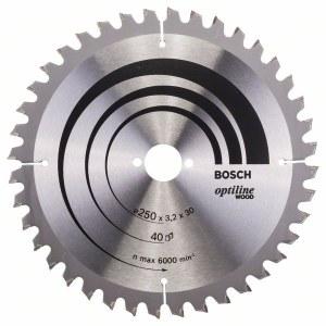 Sågklinga för trä Bosch OPTILINE WOOD; 250x3,2x30,0 mm; Z40; -5°