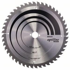 Sågklinga för trä Bosch OPTILINE WOOD; 315x3,2x30,0 mm; Z48; 10°