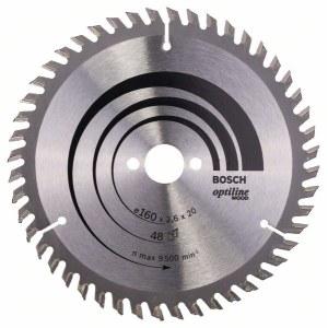 Sågklinga för trä Bosch OPTILINE WOOD; 160x2,6x20,0 mm; Z48; 15°