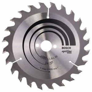 Sågklinga för trä Bosch OPTILINE WOOD; 160x1,8x20,0 mm; Z24; 15°