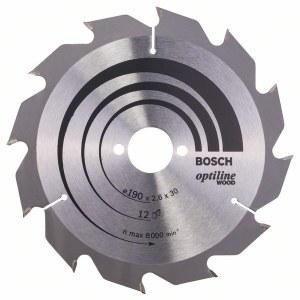 Sågklinga för trä Bosch OPTILINE WOOD; 190x2,6x30,0 mm; Z12; 15°