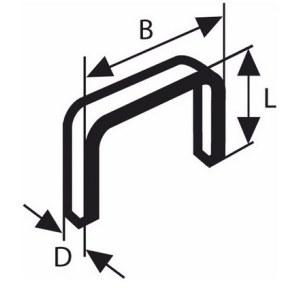 Häftklammer  Bosch; 11,4x4 mm; 1000 st.; typ 53; stål