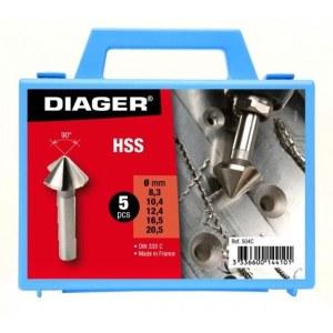 Konisk försänkare Diager 504C;  8,3/10,4/12,4/16,5/20,5 mm; 5 st.