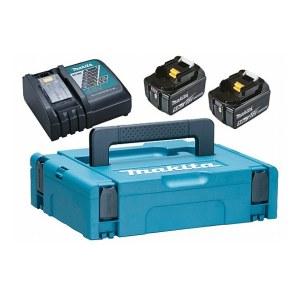 Batteri Makita 197624-2; 18 V; 2x5,0 Ah; Li-ion + laddare DC18RC + väska