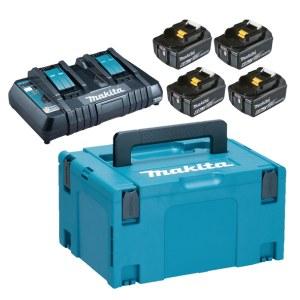 Tillbehörsset Makita Powerpack; 18V; 4x6,0 Ah + DC18RD