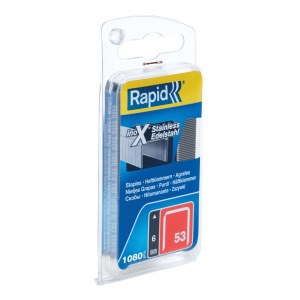 Häftklammer  Rapid, 1080 st. typ 53/6; rostfritt stål